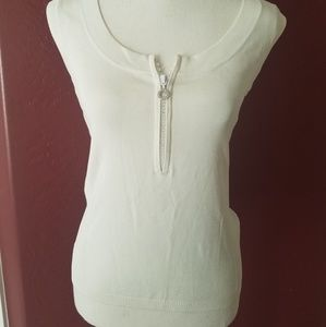 Cache White Rhinestone Zipper Sleeveless Size L